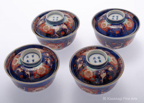 Four Fuki Cho Shun IMARI Covered Bowls