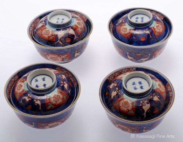 Four Fu Ki Sho Shun IMARI Covered Bowls
