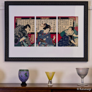 Antique Framed Original Kunichika Tattoed Triptych
