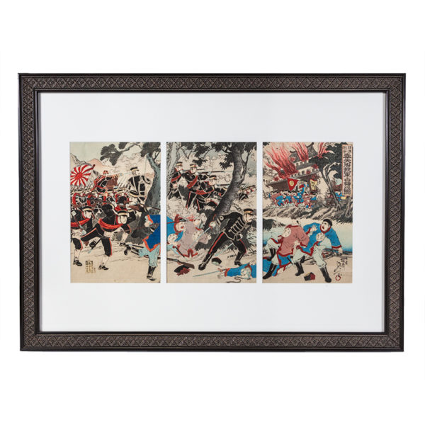 Original Framed Nobukazu Woodblock SINO Japan War