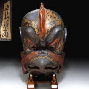Antique Japanese Signed Kagura Mask