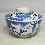 Pair of 1850s IMARI Sometsuke Covered Bowls