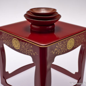 Meiji Era Sakazuki Lacquer Sake Stand And Cups