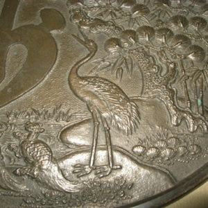 Antique Japanese Bronze Mirror Signed Yoshinobu