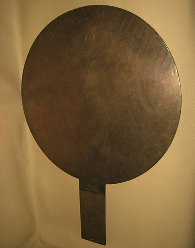 solid bronze mirror with cranes, bamboo and the words depicting luck