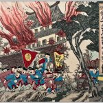 Mounted Nobukazu Triptych SINO Japan War