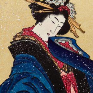 Hokusai Woodblock Woman With Umbrella