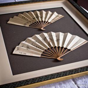 Large Framed Antique Japanese Fans
