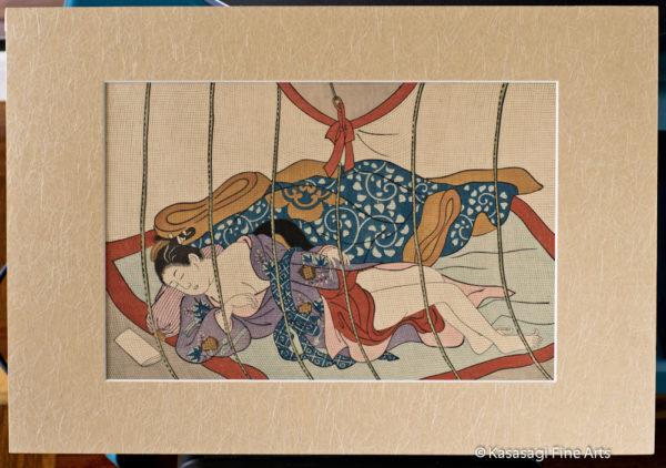 Sukenobu Mounted Pillow Print Sleeping Woman