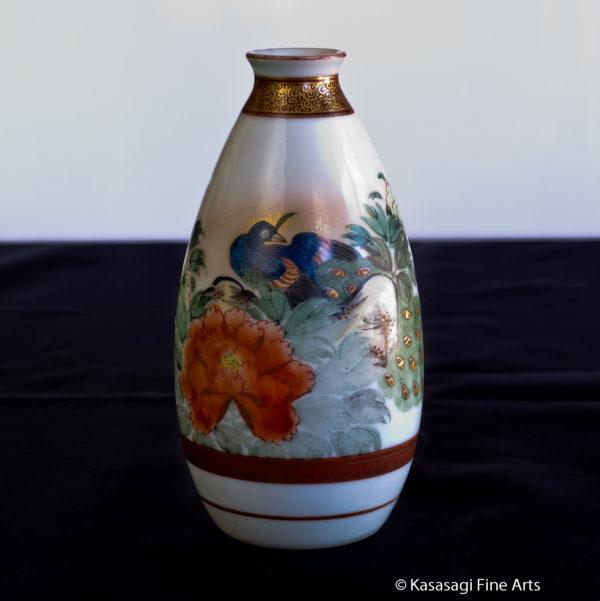 Antique Sake Bottle Signed Kutani Shoza