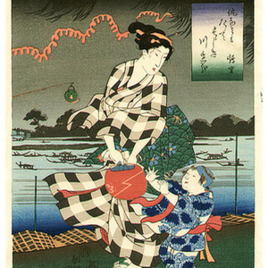 Kuniyoshi Mounted Woodblock Evening Cool
