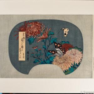 Hiroshige Chrysanthemum and Butterfly Fan Print