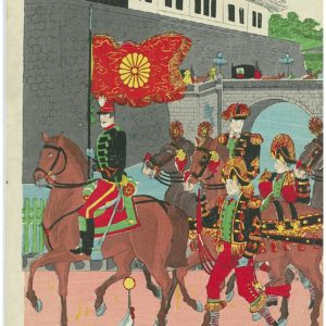 Original Woodblock Japanese Imperial Army Parade