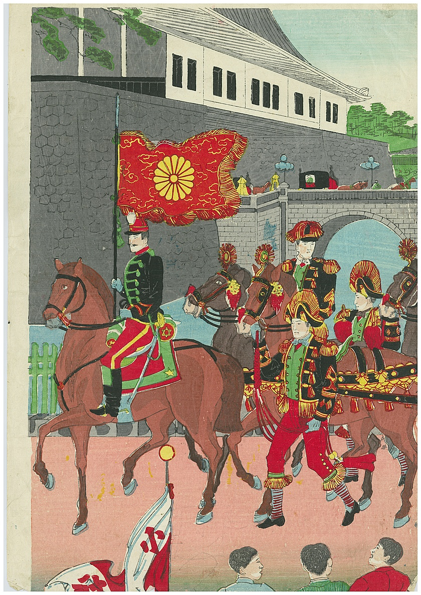 Original Woodblock Imperial Army Parade Free Shipping