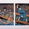 Framed Original Kunisada Diptych The Masters Private Housemaid