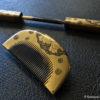 Antique Gold Lacquer Kanzashi Comb And Hairpin Set