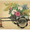 Original Kin-u Takeshita Spring Flower Cart Woodblock Print