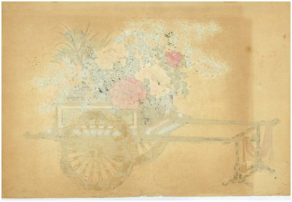 Original Kin-u Takeshita Spring Flower Cart Woodblock Print