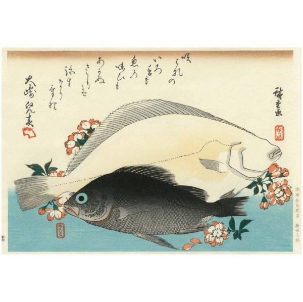Hiroshige Halibut And Rock Fish Woodblock Print