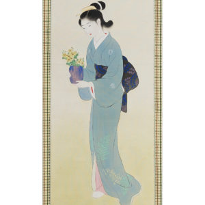 Antique Japanese Scroll Bijin-ja Carrying Flowers