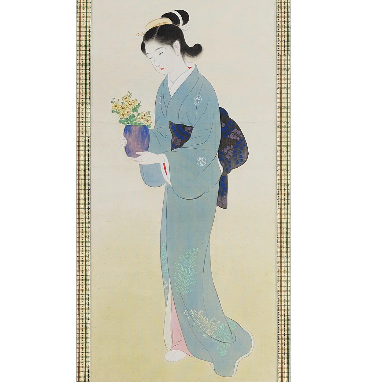 Antique Japanese Scroll Bijin-ja Carrying Flowers