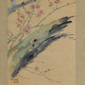 Meiji Era Japanese Scroll Plum Blossoms in Snow