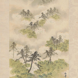 Antique Scroll Spring River Landscape By Shoka