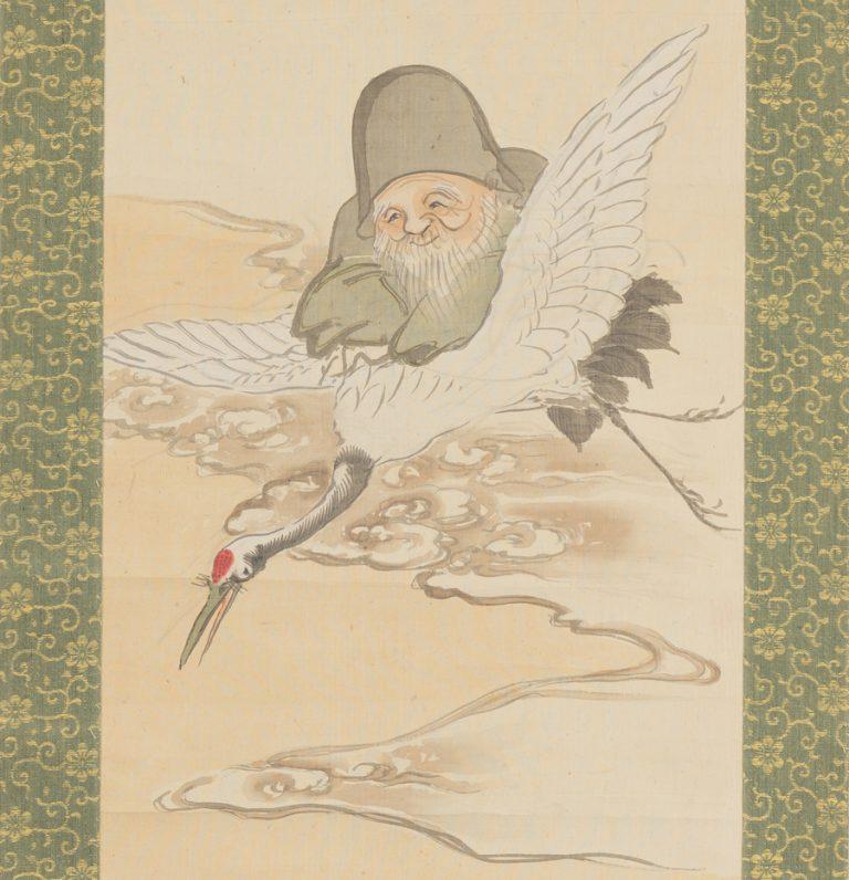 Antique Scroll God of Longevity on Crane