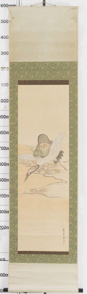 Antique Scroll God of Longevity on Crane