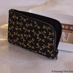 Japanese Deerskin Card Or Coin Holder Dragonflies
