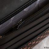Japanese Deerskin Ladies Wallet Dark Plum with Dragonflies