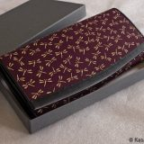 Japanese Deerskin Ladies Wallet Dark Plum with Dragonflies