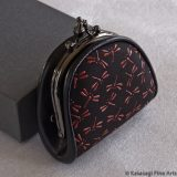 Japanese Deerskin Dragonflies Lacquered Coin Purse