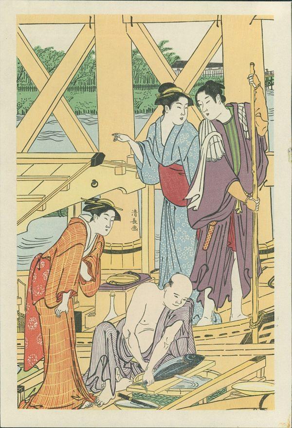 Kiyonaga Triptych Boating Party Under Azuma Bridge