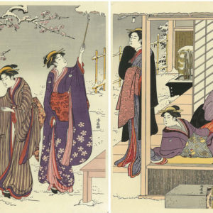 Kiyonaga Diptych viewing a snow covered garden