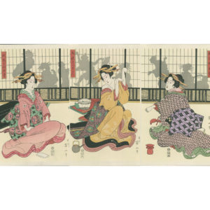 Eizen Triptych Geisha Playing The Hand Game