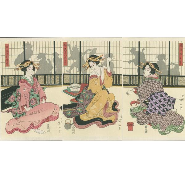 Eizen Triptych Geisha Playing The Hand Game
