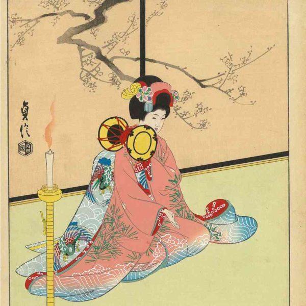 Sadanobou Woodblock Print Maiko Girl Playing Hand Drum
