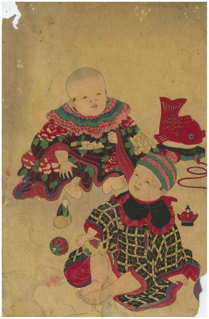 Very Old Original Childrens Woodblock Print