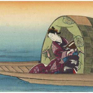 Toshinobu Woodblock Print Woman on Houseboat