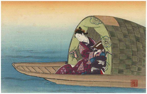 Toshinobu Woodblock Print Woman on Houseboat