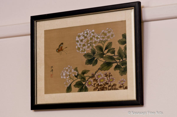 Framed Japanese Silk Painting Butterfly And Hydrangeas