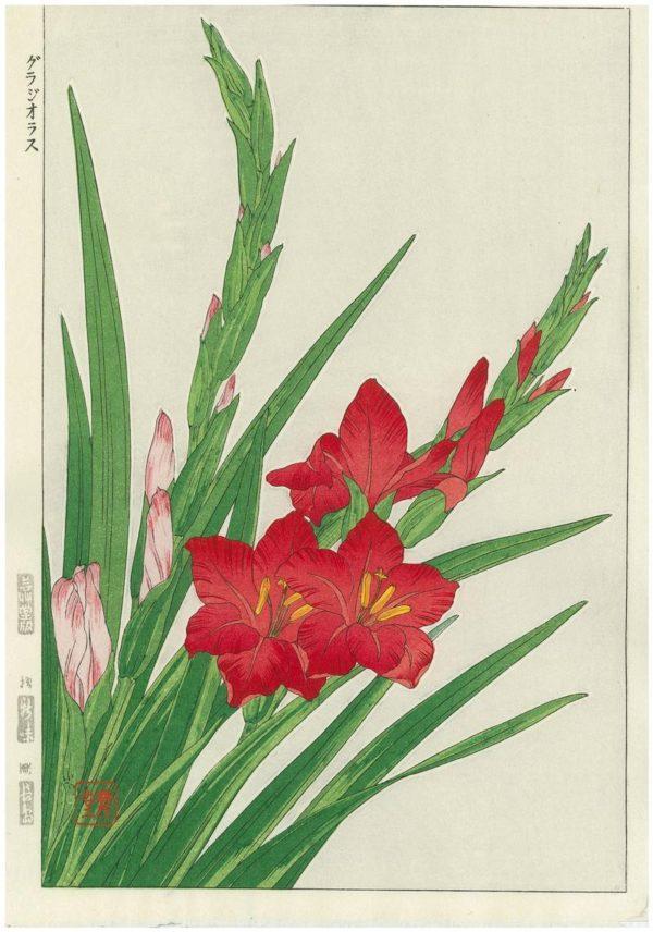 Kawarazaki Shodo Spring Flowers Gladioli Woodblock Print