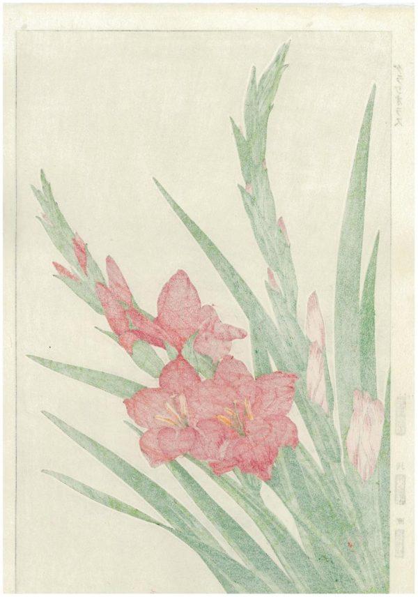 Kawarazaki Shodo Spring Flower Gladioli Woodblock Print