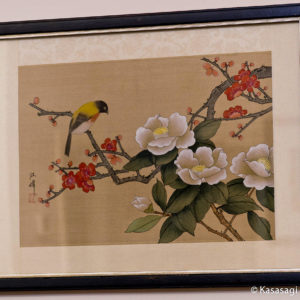 Framed Japanese Silk Painting Honeyeater And Camellia