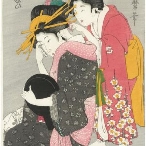 Utamaro Woodblock Yoso oi Seated at Her Toilet