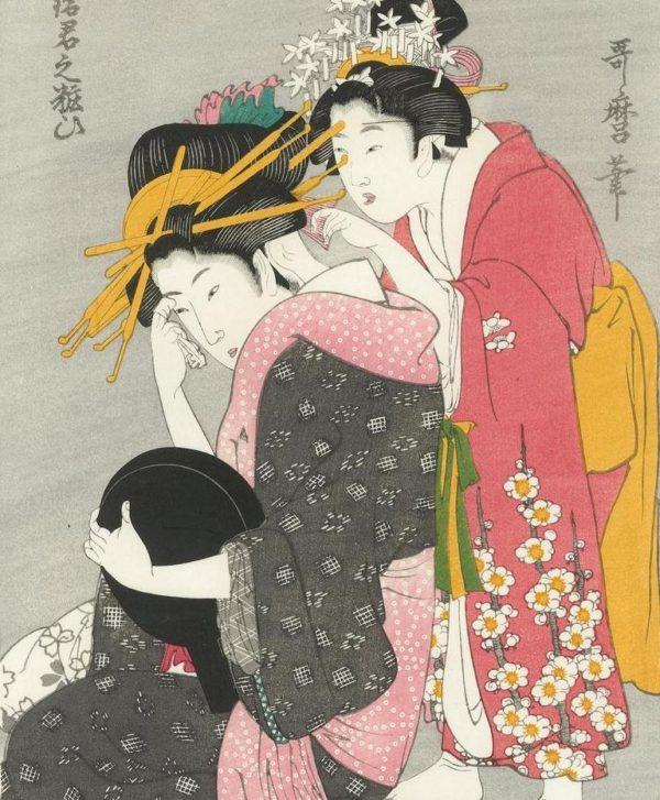 Utamaro Two Women Woodblock Print