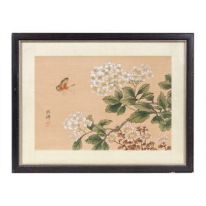 1940s Framed Painting Butterfly And Hydrangeas