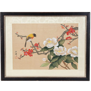 1940s Framed Painting Honeyeater And Camellia