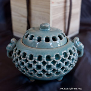 Japanese Vintage Signed Reticulated Celadon Koro